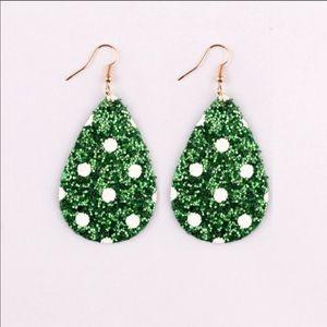 Green Holiday Polka Dot Glitter Teardrop Earrings
